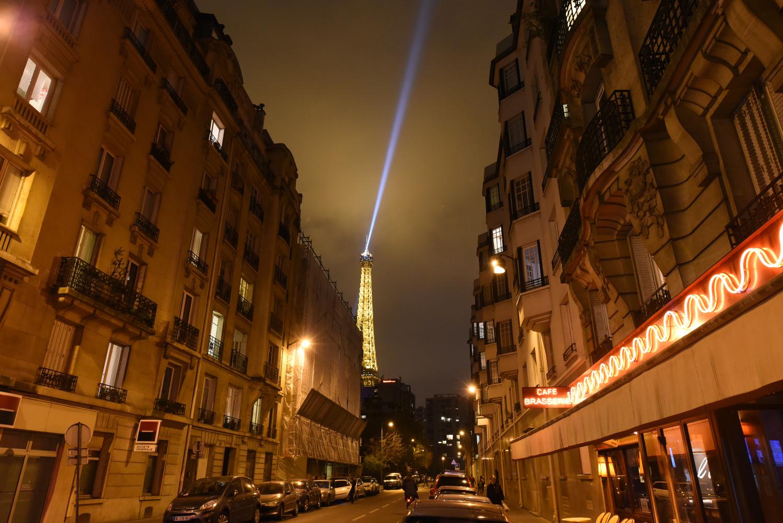 Eiffel Tower Spotlight by Eric Mathiasen