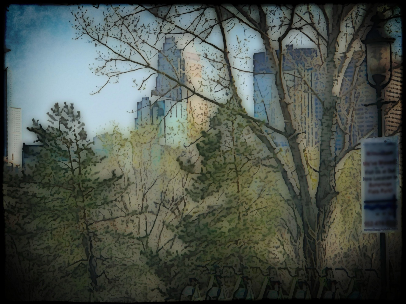River View Skyline Water Color by JAMES FLACK