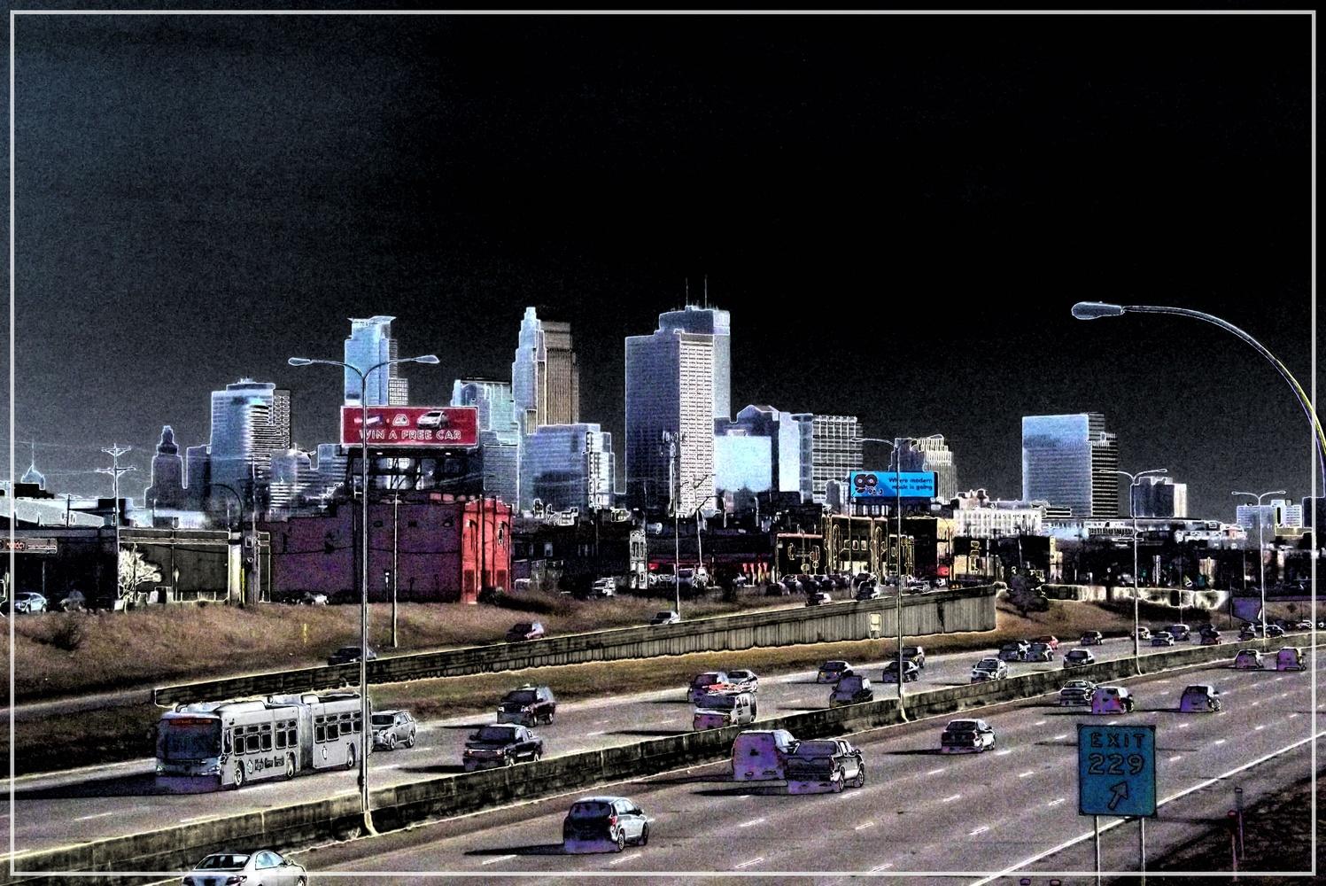 Minneapolis Skyline Intense by JAMES FLACK