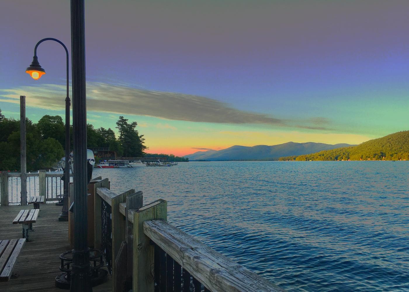 Dock on Lake George at Sunset by Diane Marie