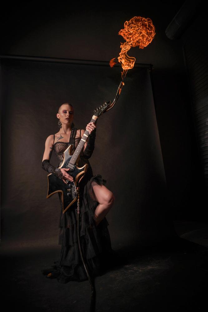 Kiera Flamethrower Guitar by Jeff Bennion