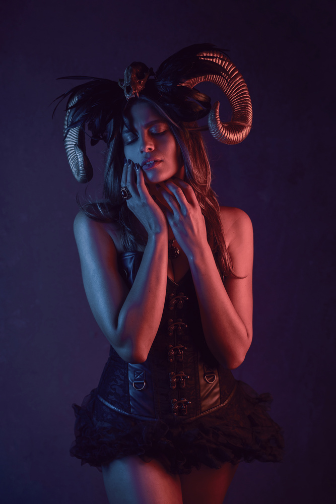 Luana with Demon Horns by Jeff Bennion