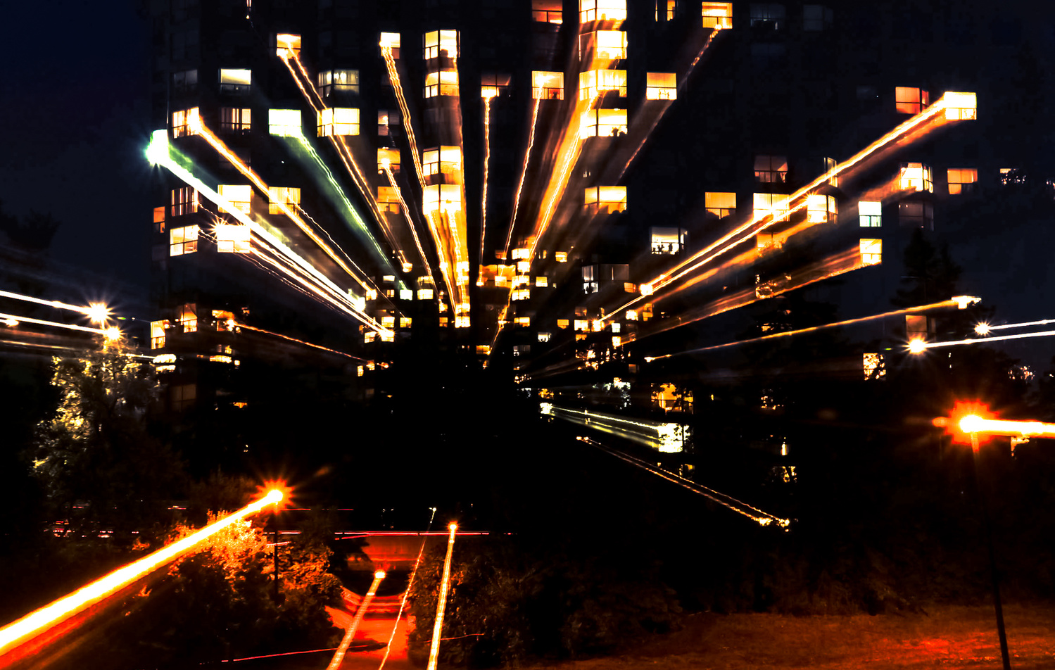 Highrise Zoom Burst at Night by Justin Powers