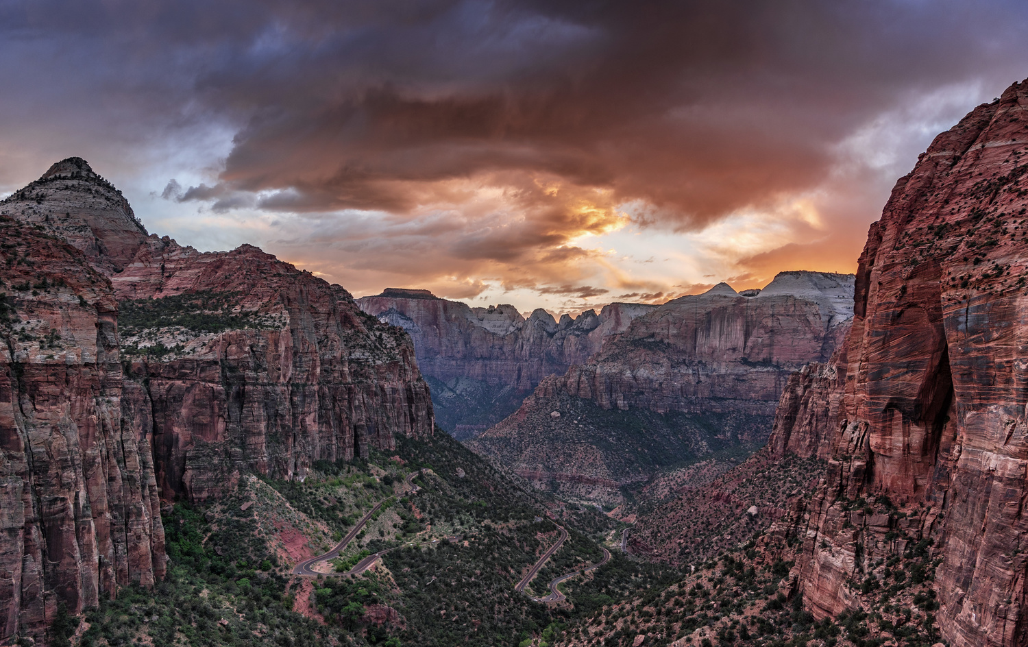 Canyon Overlook Sunset - Zion Nat'l park, UT by John Nicholson
