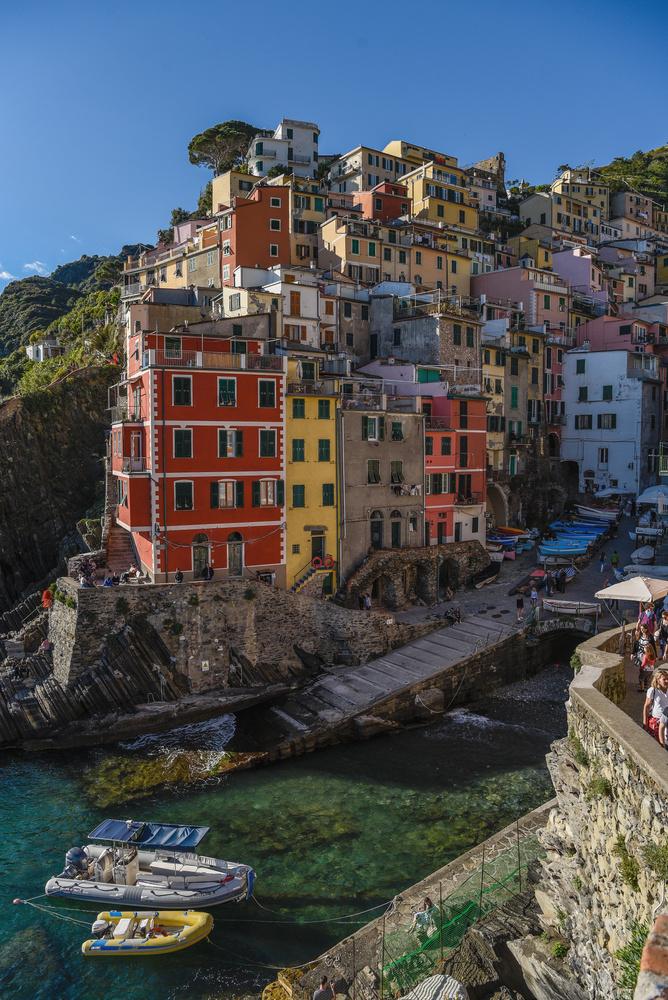 Cinque Terre Riomaggiore port by John Nicholson