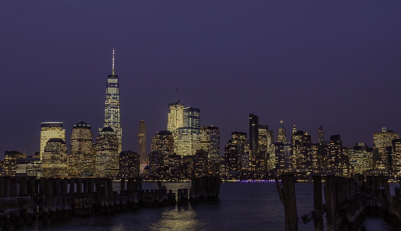 Lower Manhattan at night  by John Nicholson