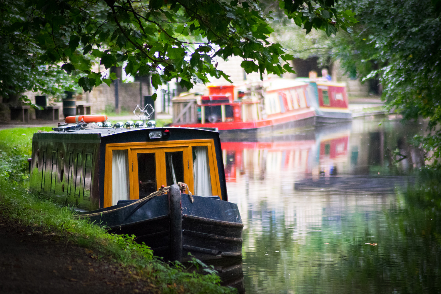 Narrow Boat in Saltaire by Steven Clough