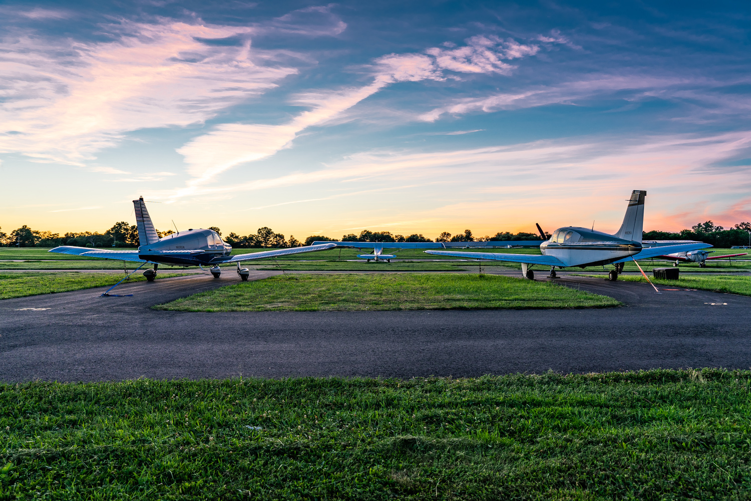 Airplane Sunset at Kupper Airport by Alexander Lobozzo