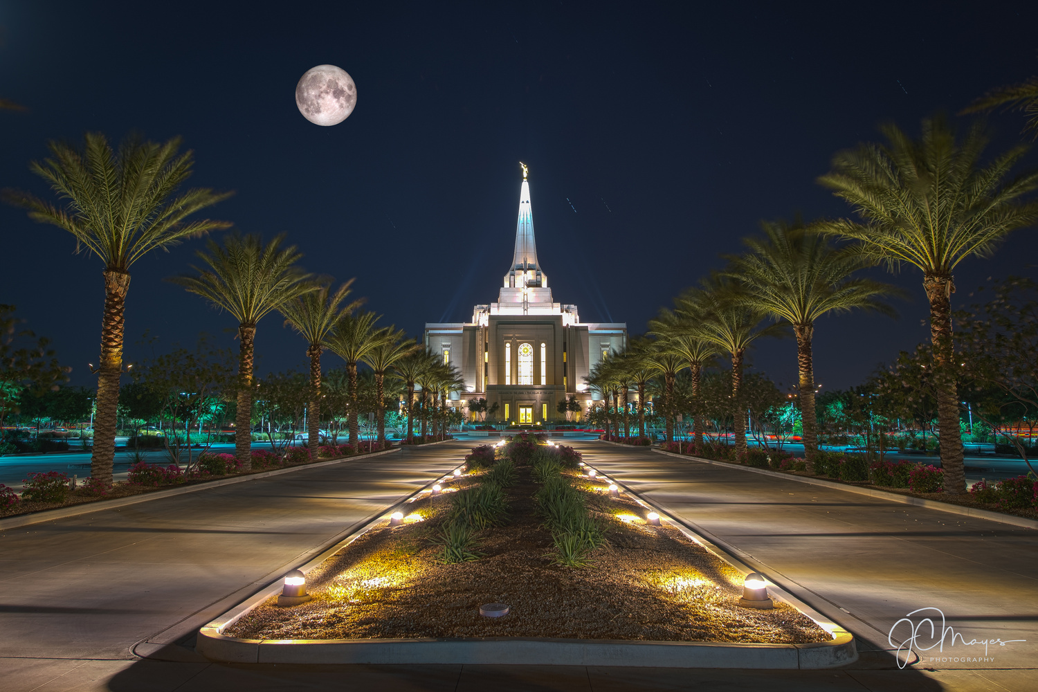 LDS Temple at full moonset by JC Mayes