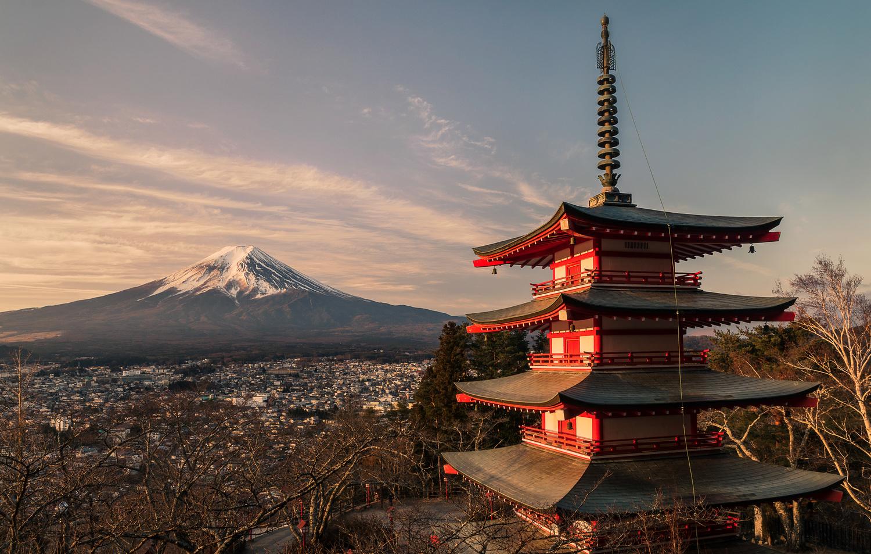 Sunrise With The Chureito Pagoda Landscape And Nature