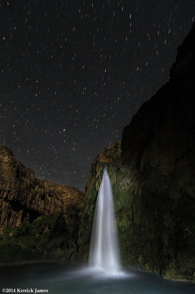 Havasu Falls under summer stars, Havasupai Reservation, Grand Canyon, Arizona by Kerrick James