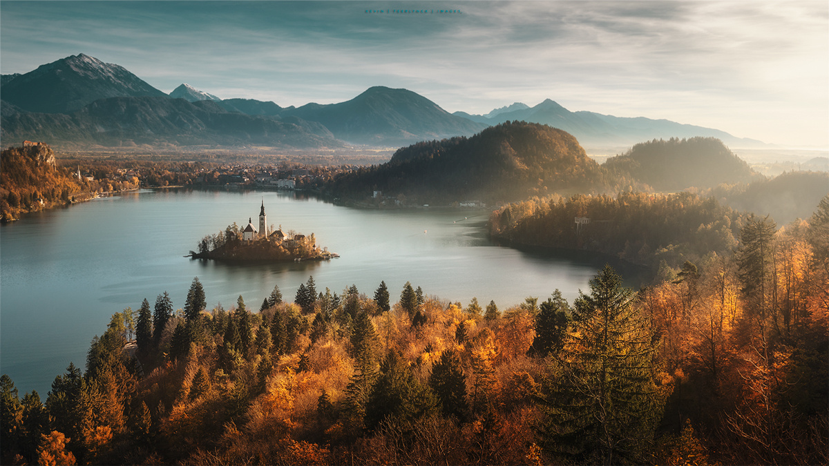 Panoramic view on lake Bled by Kevin Teerlynck