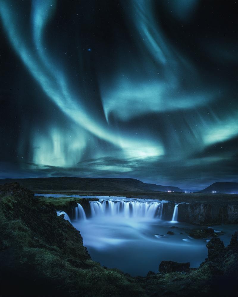 Goðafoss by night by Michael Hultqvist