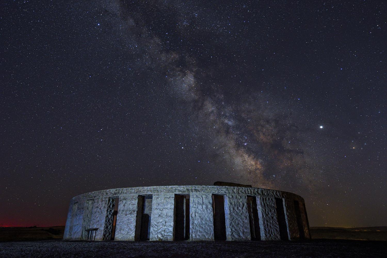 Milky Way over Stonehenge Memorial at Maryhill by David Hutson