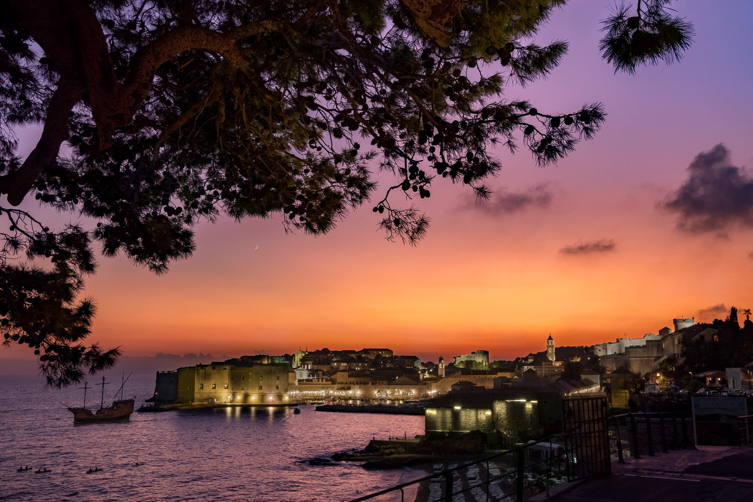 Sunset Lights of Old Tow Dubrovnik by Joao TFS