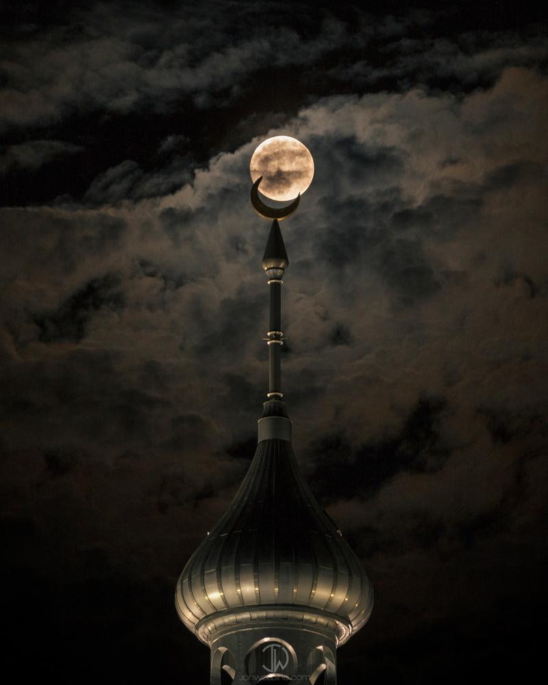 Supermoon Minaret by Jon Wolding