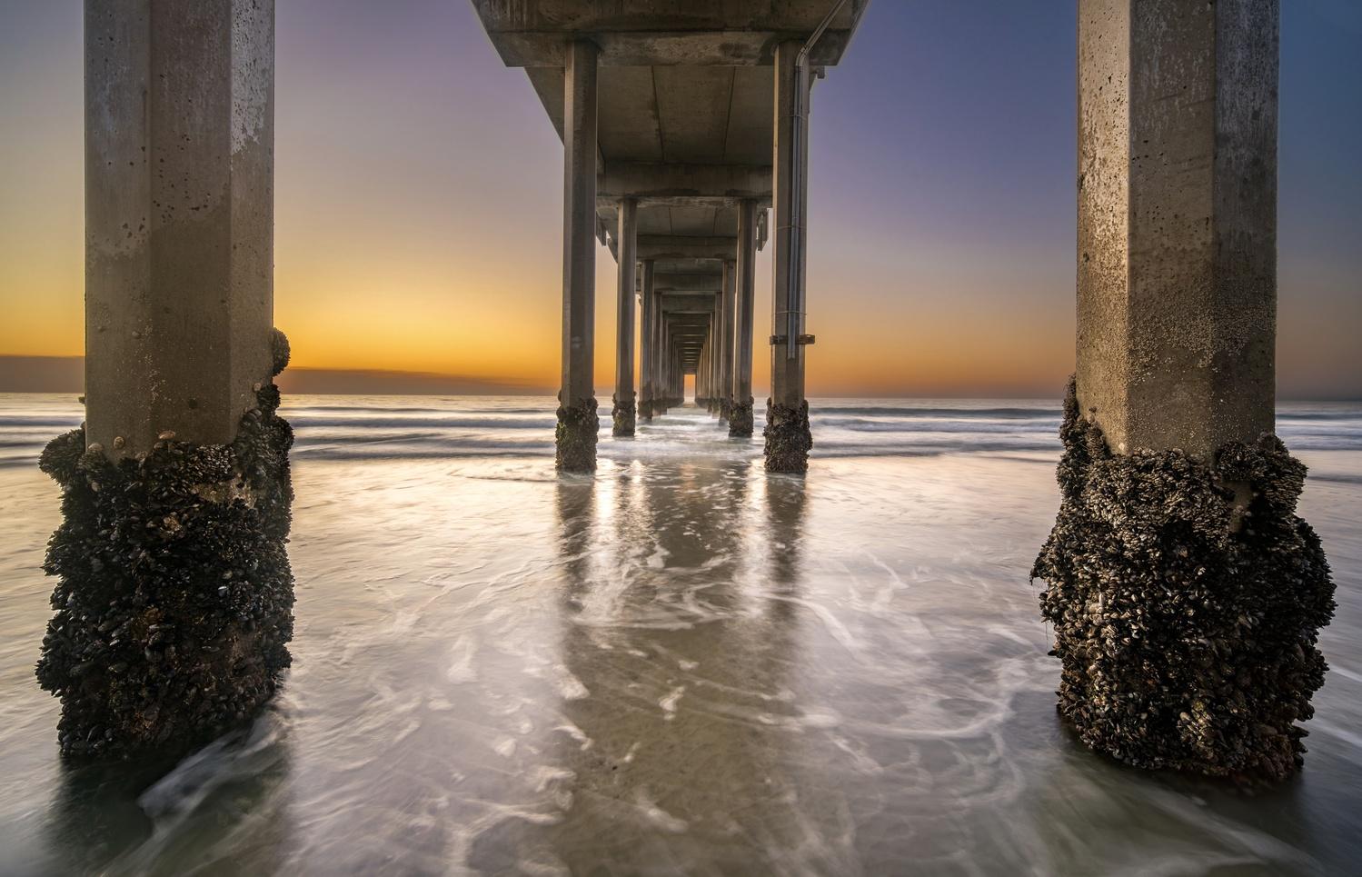 Sunset under Scripps Pier by Daniel Wishard