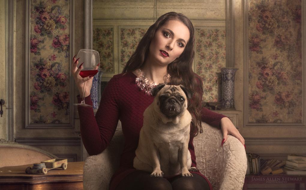 A vampire and her vampire pug by James Allen Stewart