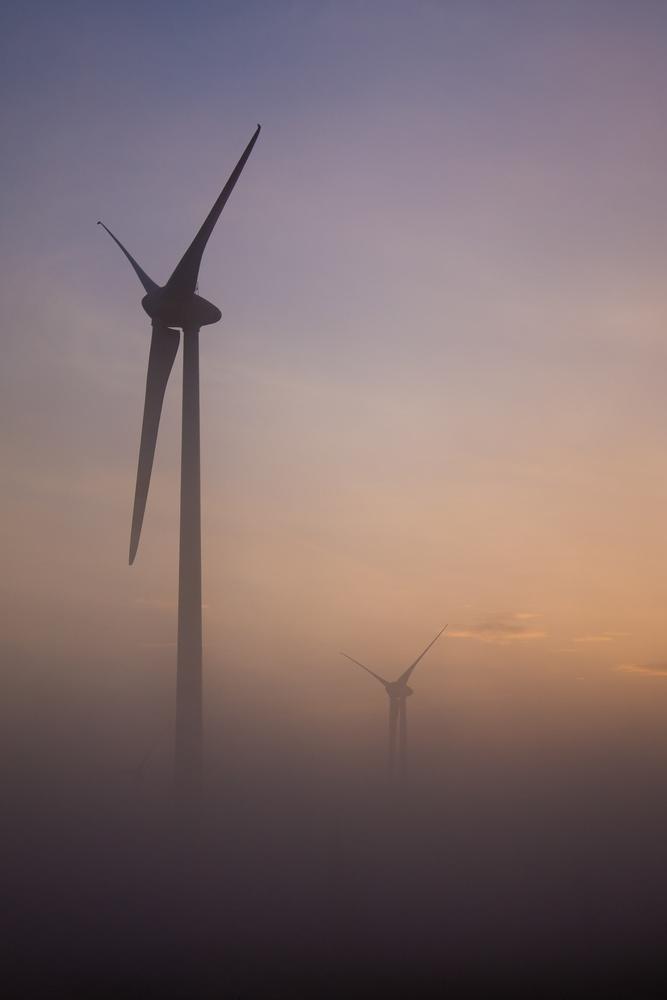 Windmills in the mist by Przemysław Telążka