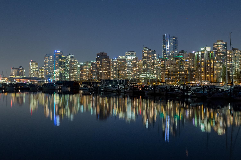 Vancouver skyline at night by Bernardo Lopez