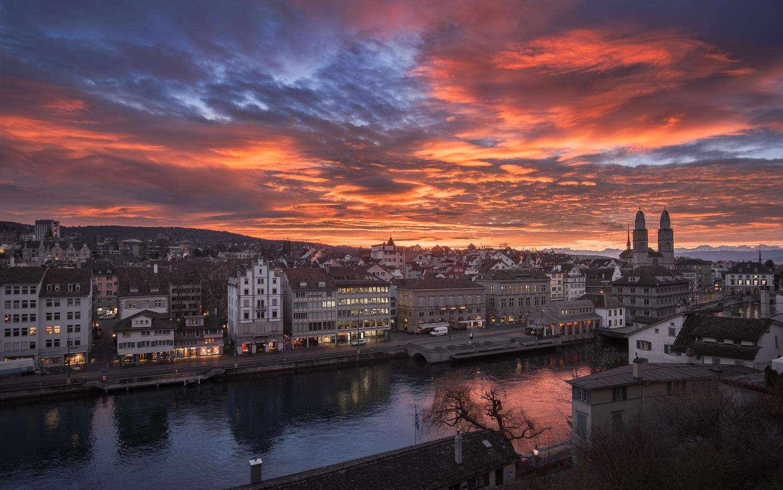 Zurich sunrise by Anton Galitch