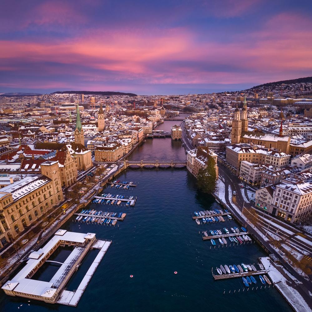 Sunrise Flight above Zurich by Anton Galitch