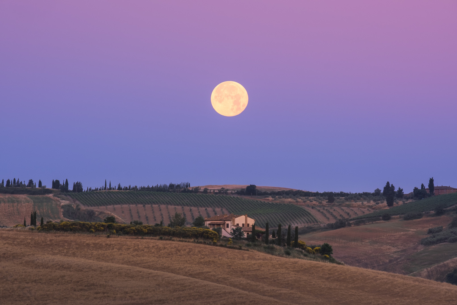 Full moon above Tuscany by Anton Galitch