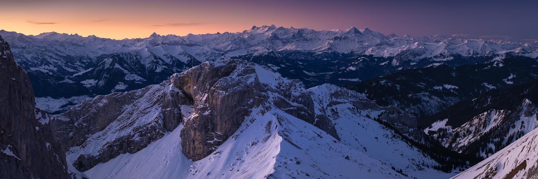 Sunrise pano from Mt Pilatus by Anton Galitch