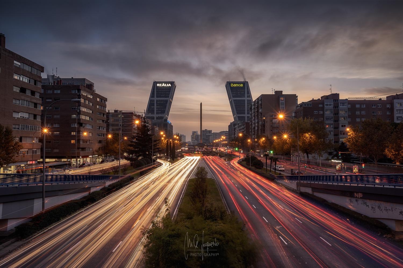 Madrid Light Trails I by Miguel Angel Izquierdo Jiménez