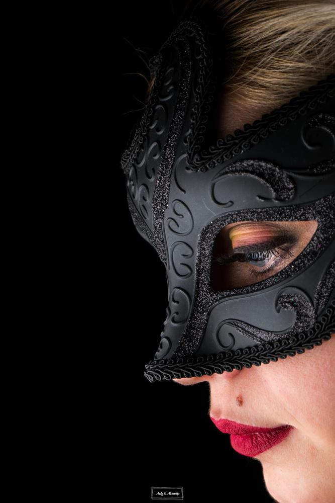 Blonde gilr with black mask by Ghita Alexandru