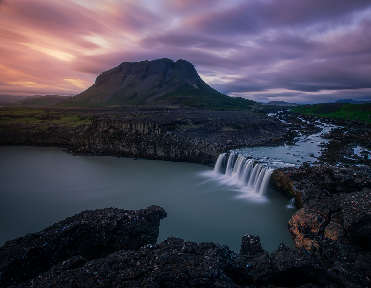 Sunset at one of Icelands most unique waterfalls! by Roger Kristiansen