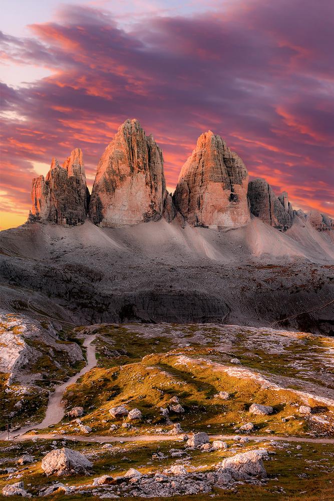 MORNING GLOW | Tre Cime di Lavaredo (Drei Zinnen), Dolomites Italy by Luigi Sonnifero