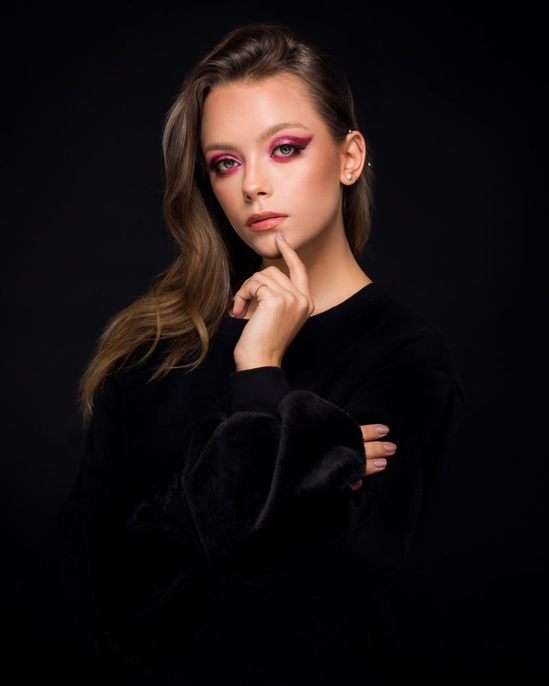 Pink on black by Marek Opała