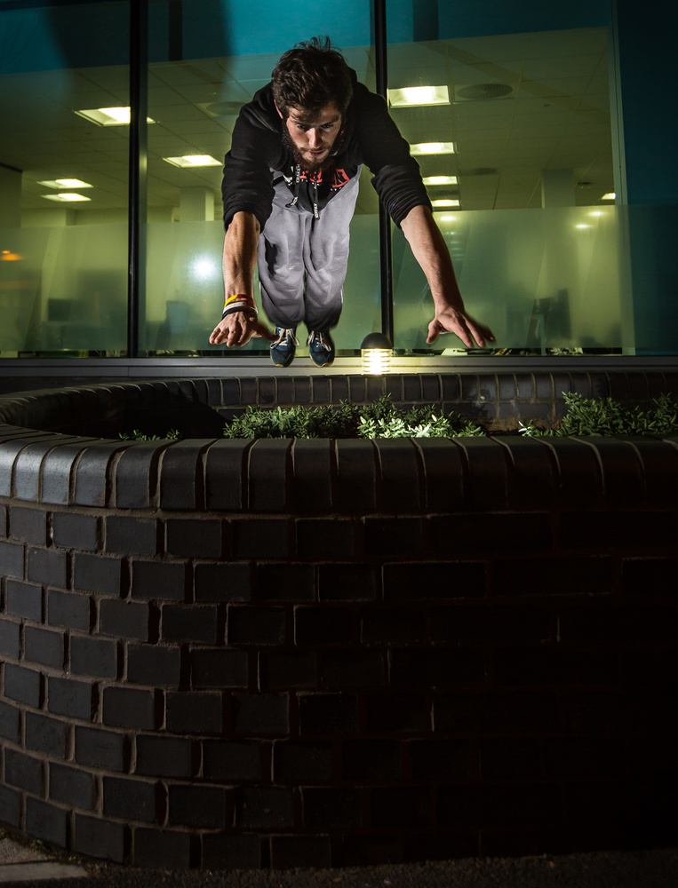 Parkour at night by Brad Wendes