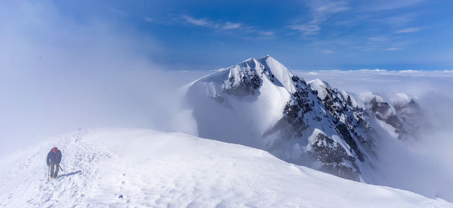 Climber at the rim of Mount St. Helens by Dylan Zoebelein