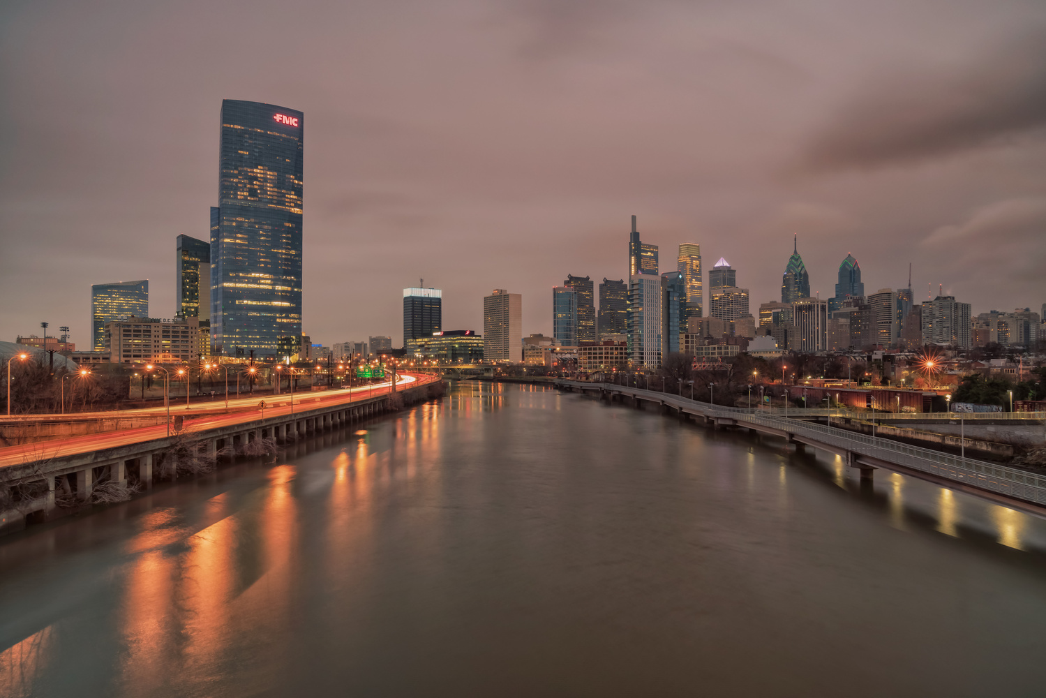 Morning from the South Street Bridge in Philadelphia by Brent Guiliano