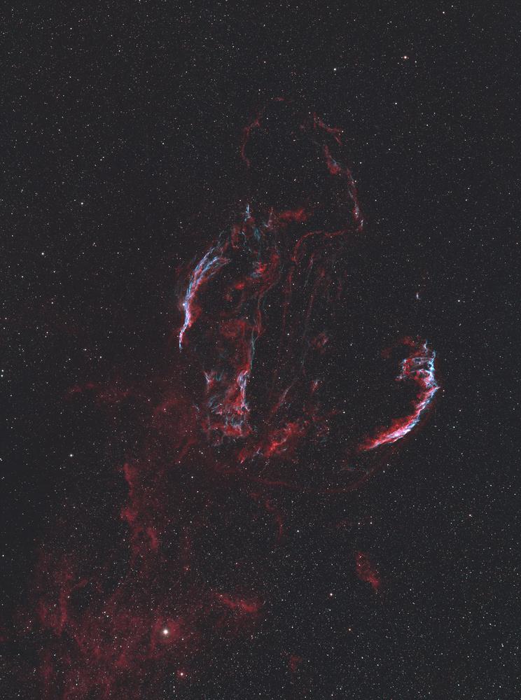 Cygnus Loop and Neighboring Gas Clouds in HaOIIIRGB by Christopher Scott
