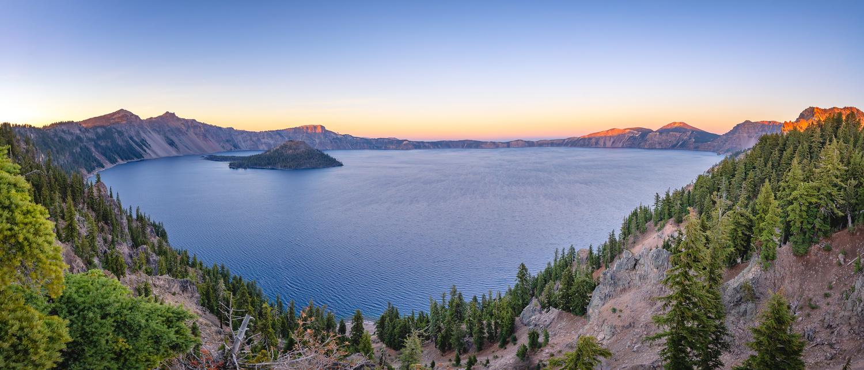 Crater Lake Panorama by Devon Wohlfahrt