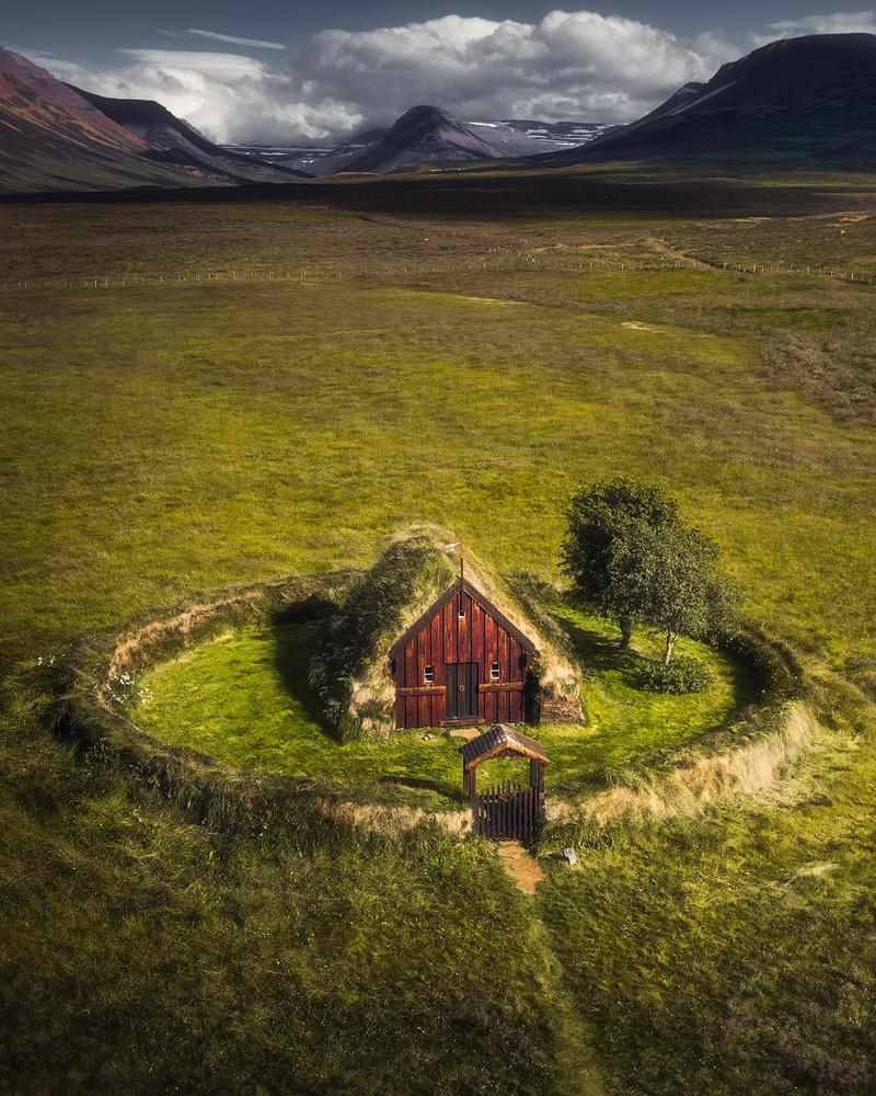The old turf church by Fredrik Strømme