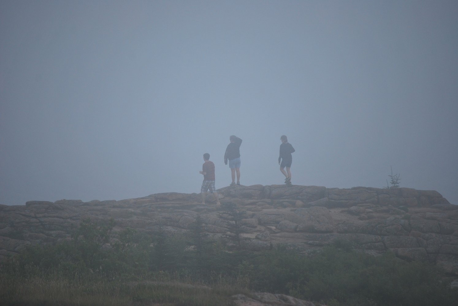 Cadillac Mountain on a foggy morning by Benny Mouton