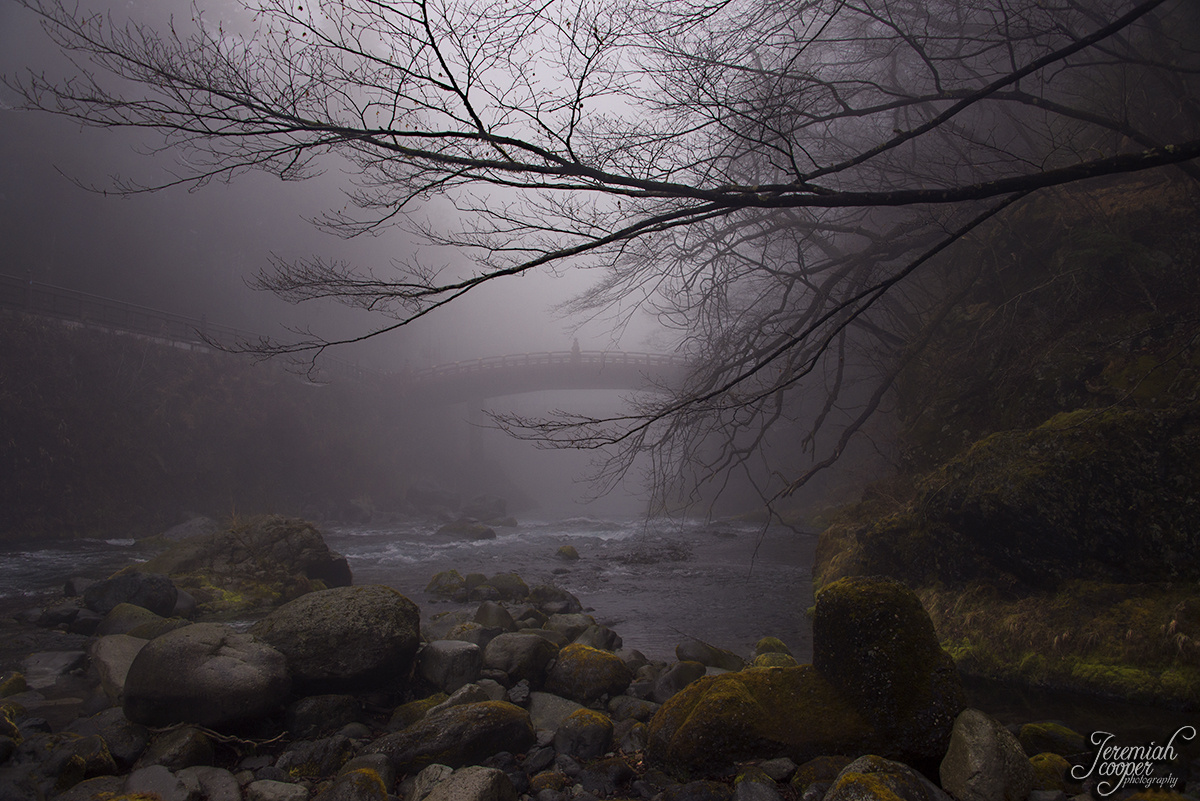 Shinkyo Bridge in the fog by Jeremiah Cooper