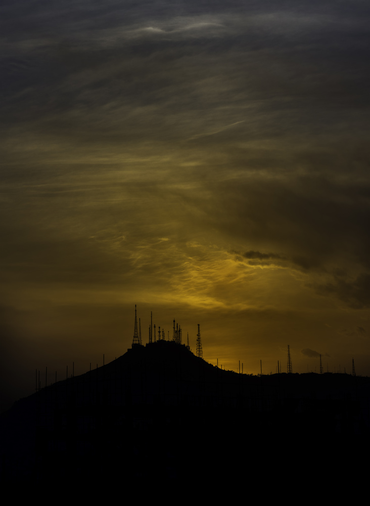 TV Hill, Kabul, Afghanistan Against a Dramatic Sunset by Roger Applegate