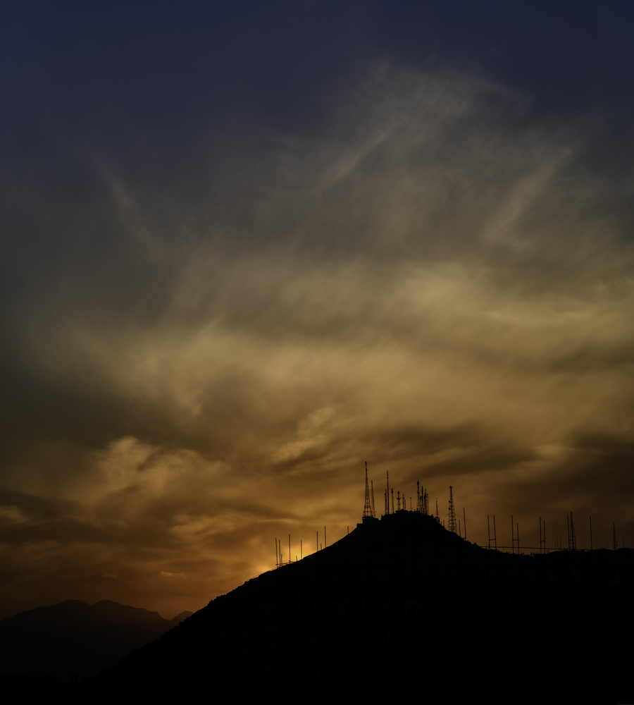Dramatic Sunset - Kabul, Aghanistan - TV Hill by Roger Applegate