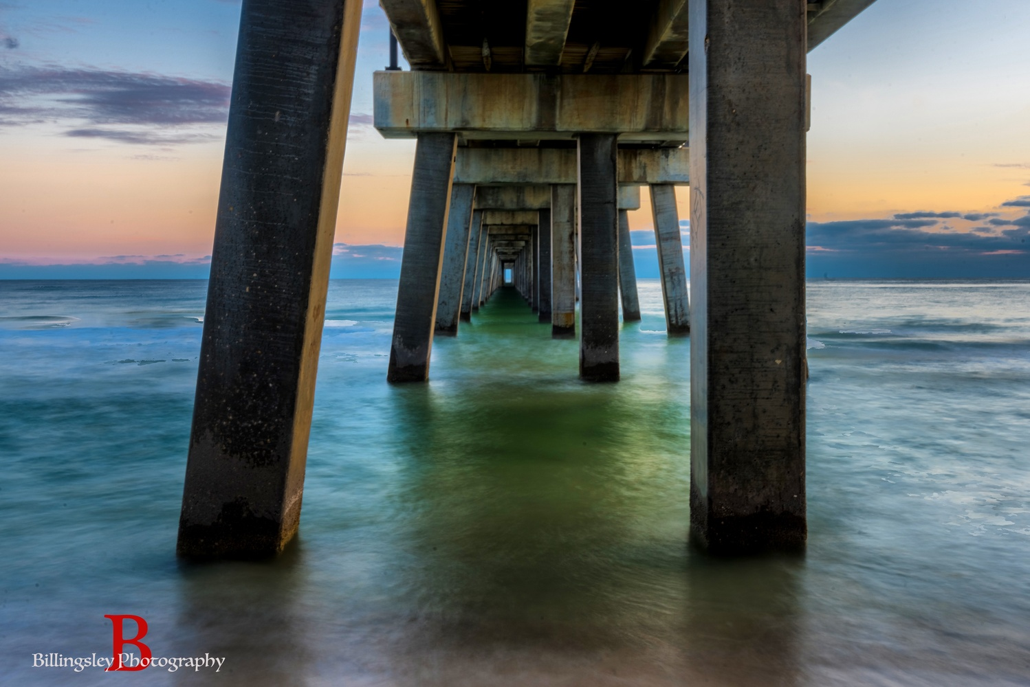 Sunset Dock down by the Gulf by Cliff Billingsley