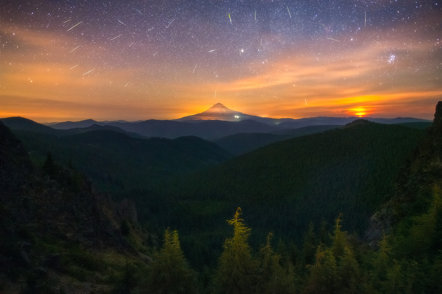 Perseid Meteor Shower over Mt. Hood by Daniel Gomez