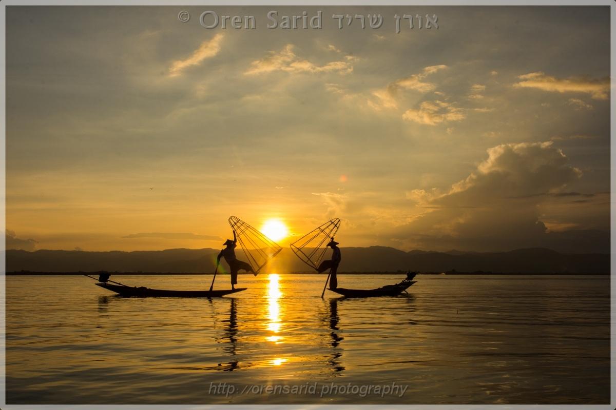 Inle lake fishermen by Oren Sarid