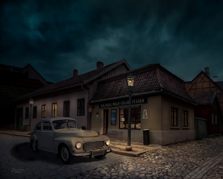 Groceries Milk Delicacies and Volvo 544 by Jan Eide