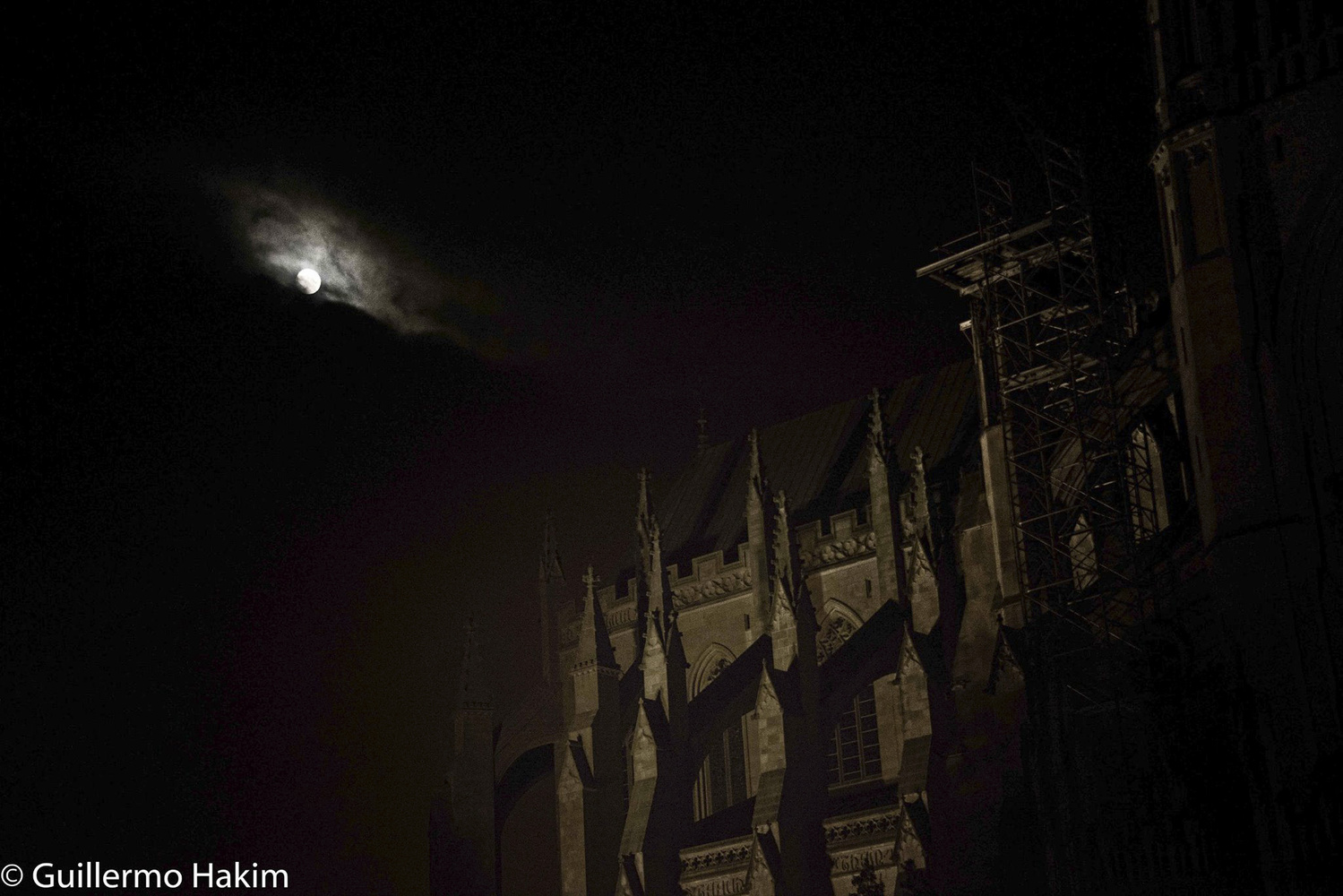 Moon over the National Cathedral by Guillermo Hakim