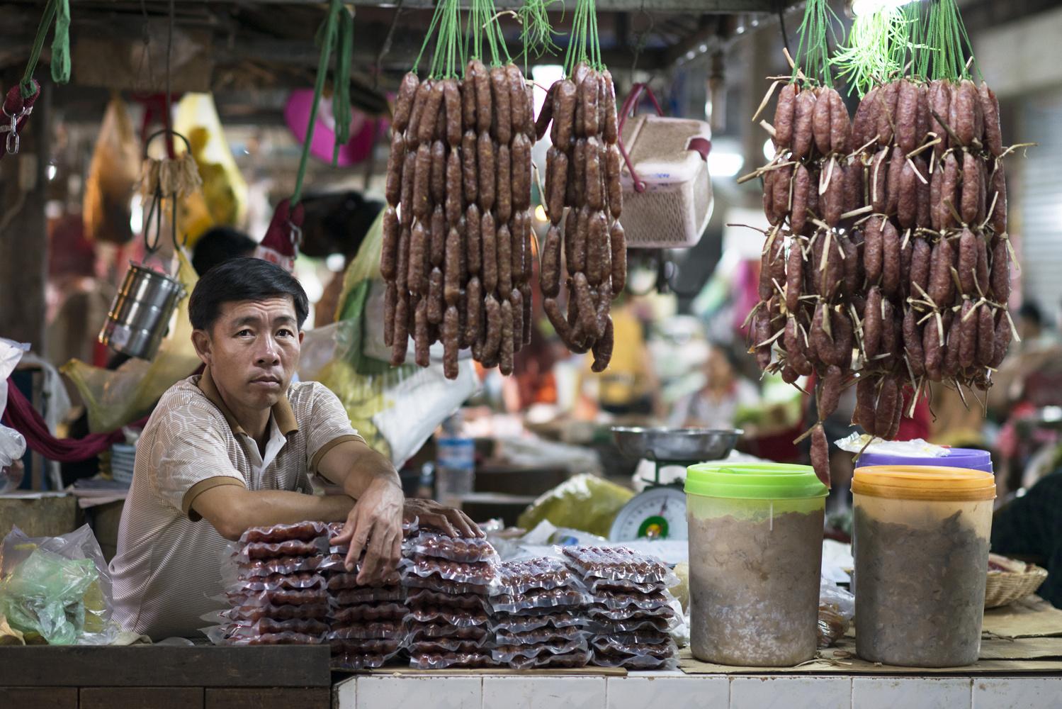 Nice meatman in Siem Reap by Léonard Rodriguez
