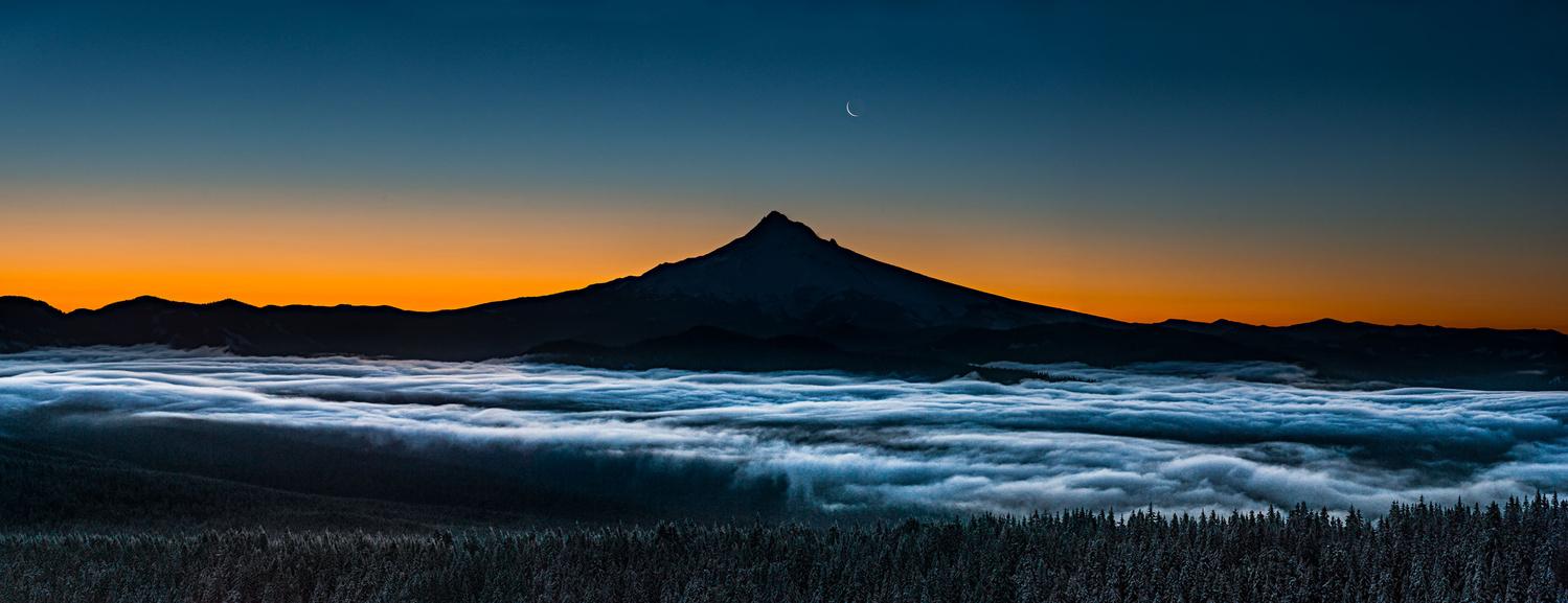 Mount Hood Moonrise (pano) by Hudson Henry